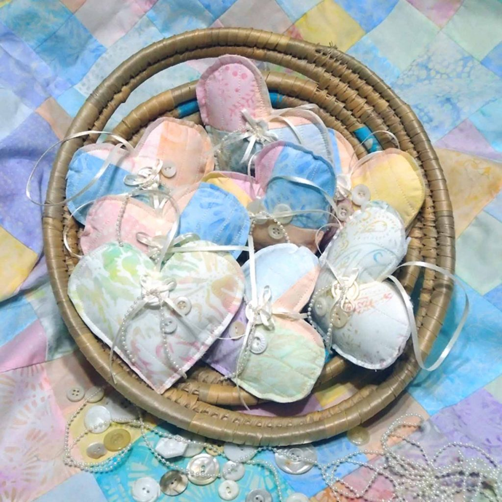 image of Basket of Easy to Make Quilted Fabric Hearts