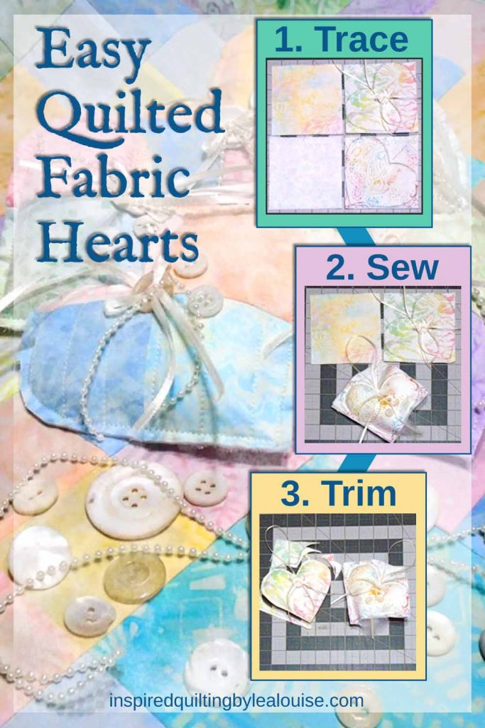 image of pin for easy to make quilted fabric hearts