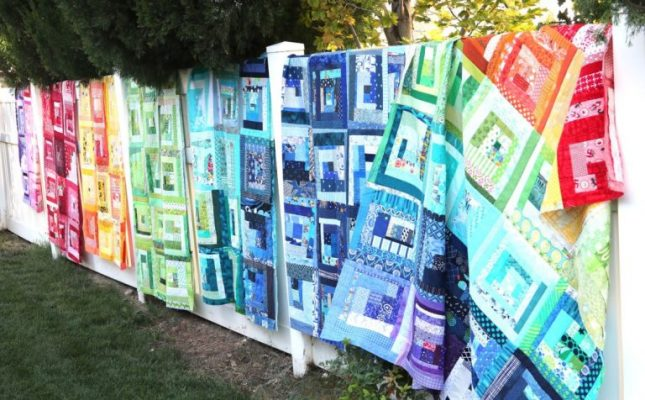 image of Scrappy-Log-Cabin-Quilts-for-Charity