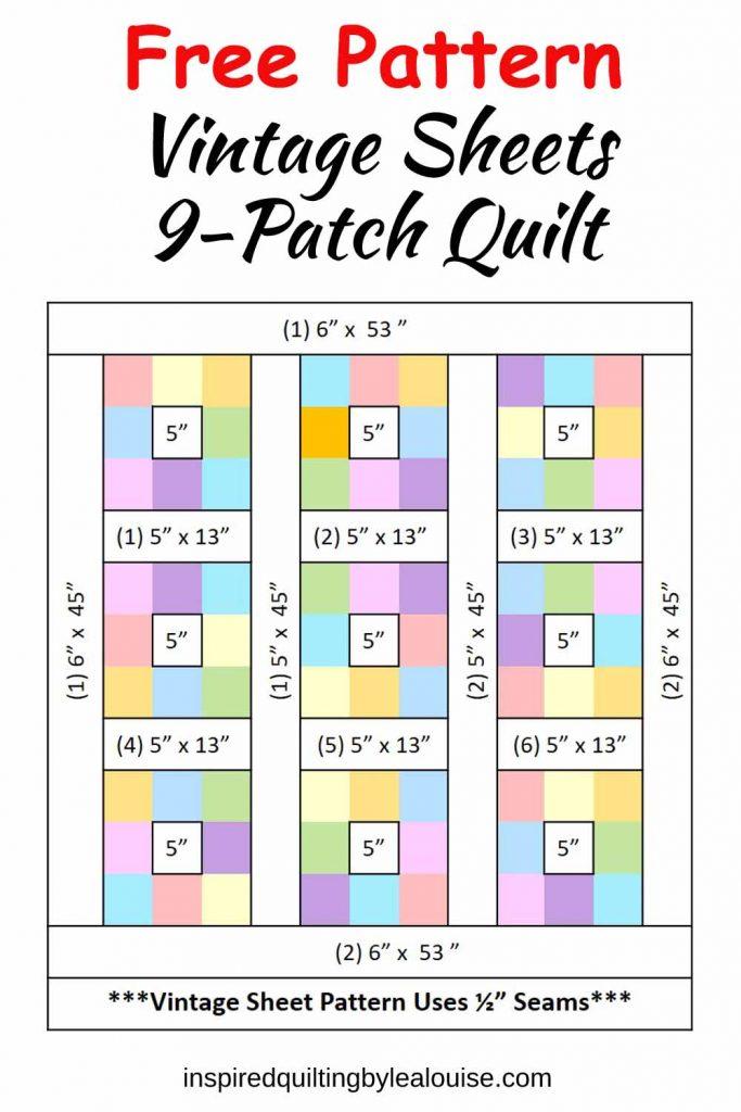 Image of Vintage Sheets 9-Patch Lap Quilt Pattern