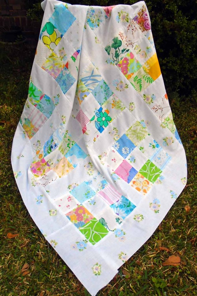 image of Vintage Sheet Charm Square Quilt