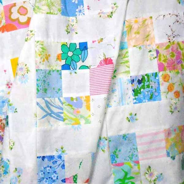 image of vintage sheets 9-patch quilt block