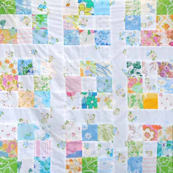 image of vintage sheets quilt with lattice
