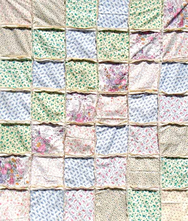 image of lap size scrappy rag quilt