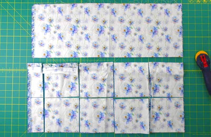 image of Fat quarter crosscut into 5 inch charm squares