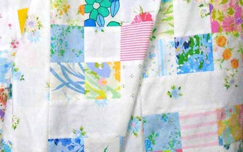 image of Vintage Sheets 9-Patch Lap Quilt