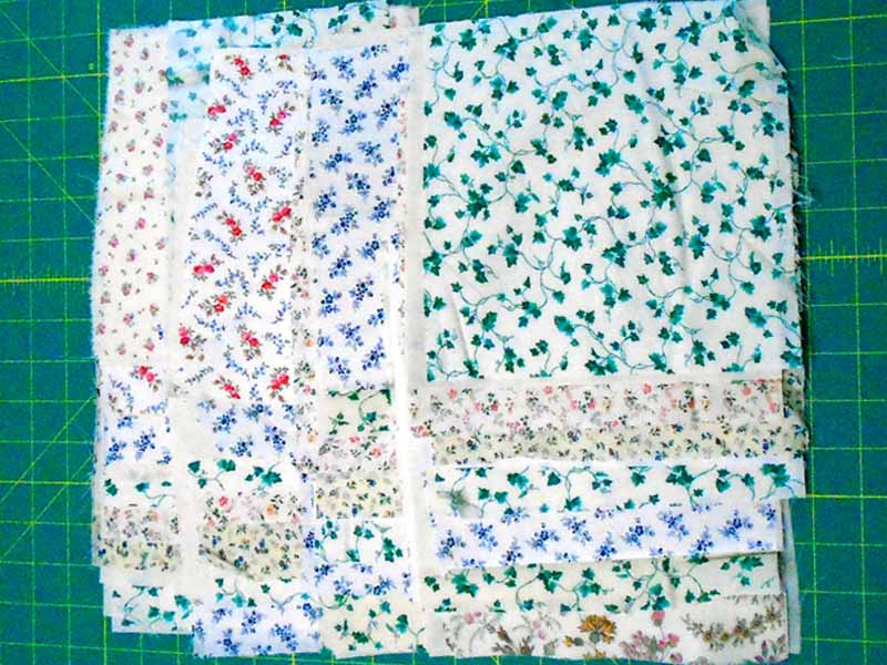 image of fabric staged and ready to be sewn into a Scrappy Rag Quilt