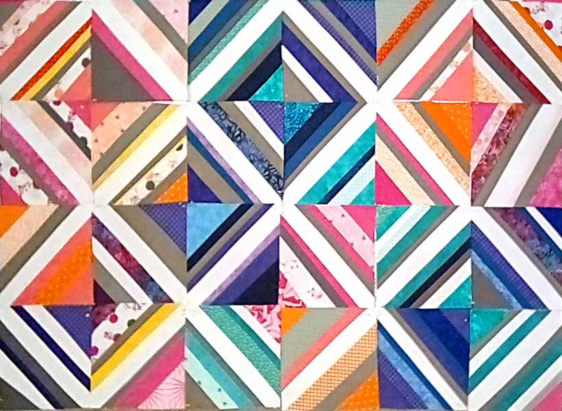 image of completed quilt as you go paper foundation tutorial