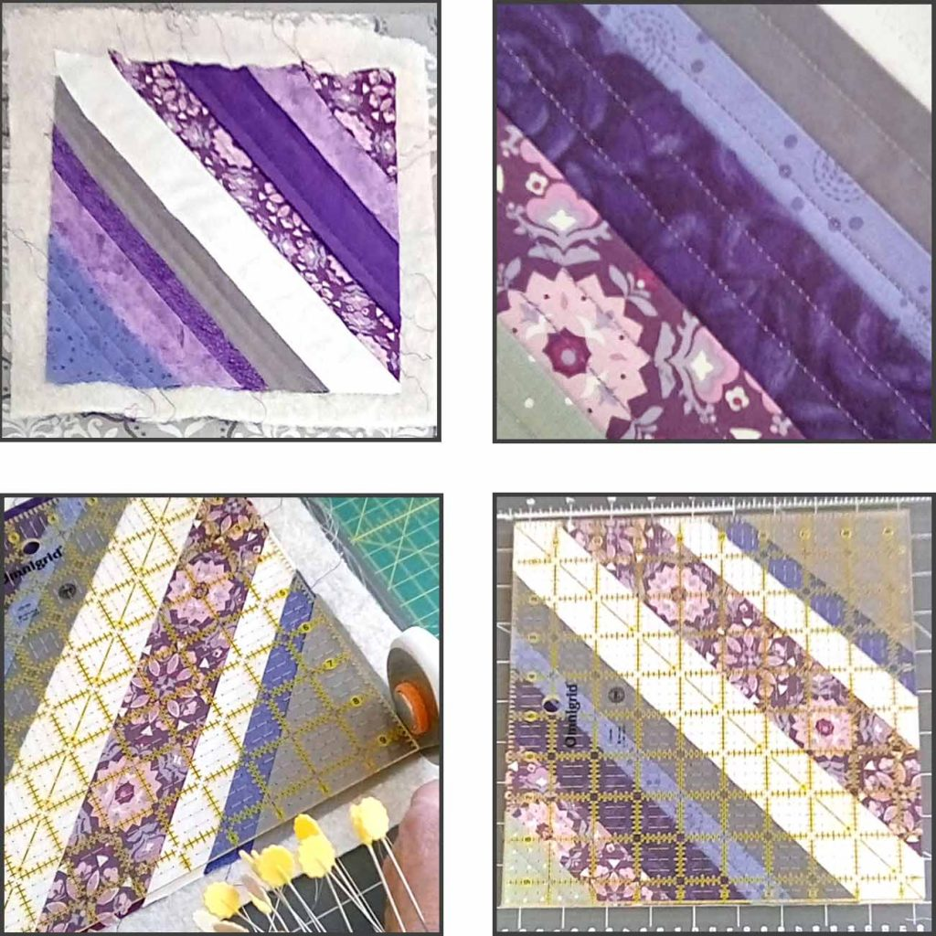 image of trimming blocks of a quilt as you go paper foundation tutorial
