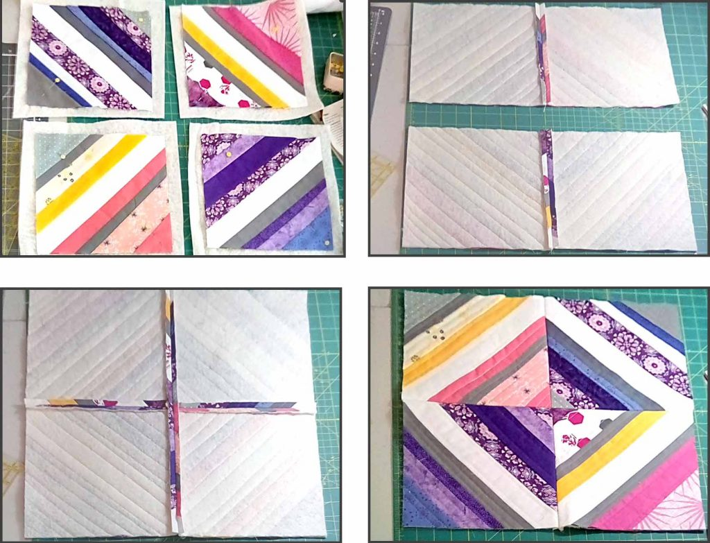 image of sewing blocks or a quilt as you go paper foundation tutorial