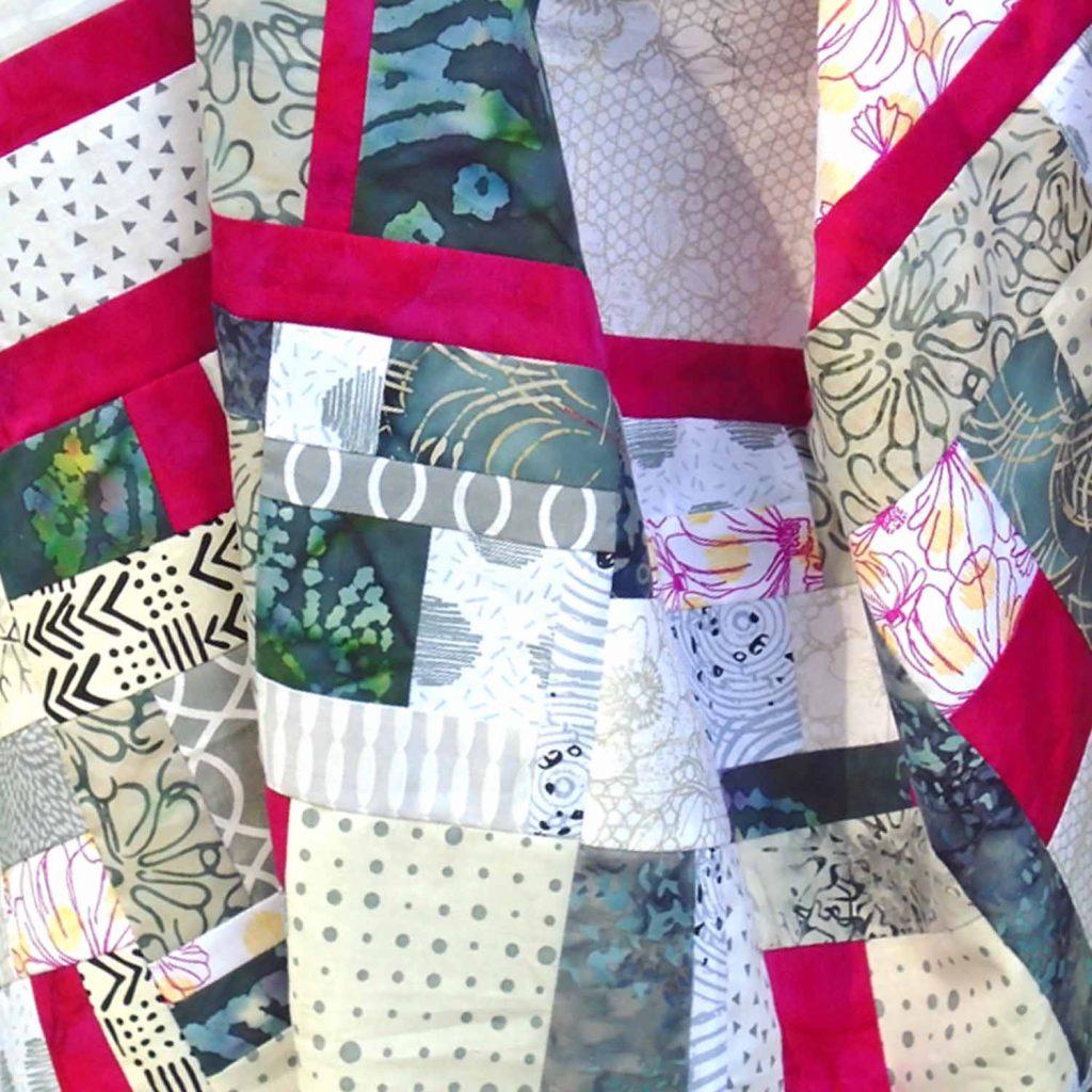 image of Batik Fat Quarter Quilt Border made with Improv Piecing