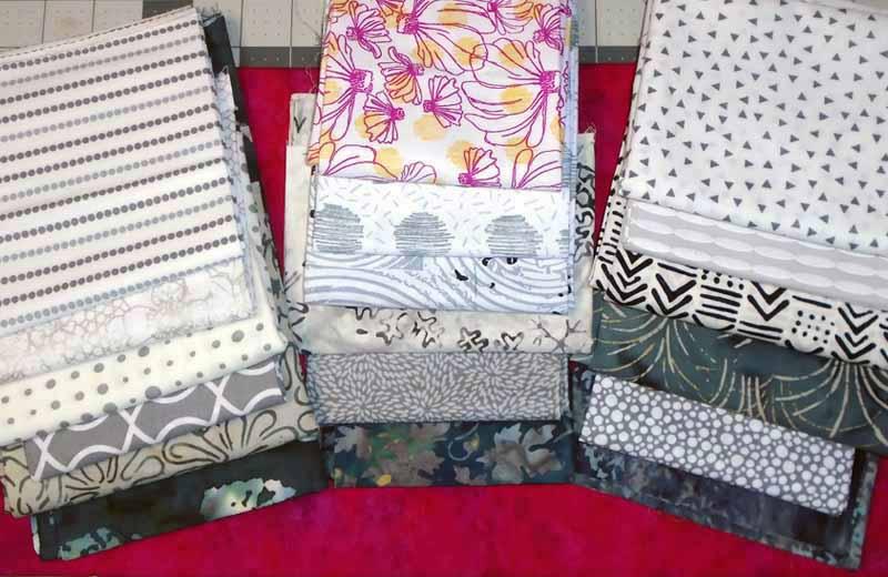 image of Modern Batik Fat Quarter Quilt Pattern Gray Batik Fabric Selection