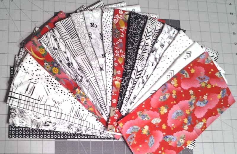 image of Modern Batik Fat Quarter Quilt Pattern Black White & Asian Print Fabrics