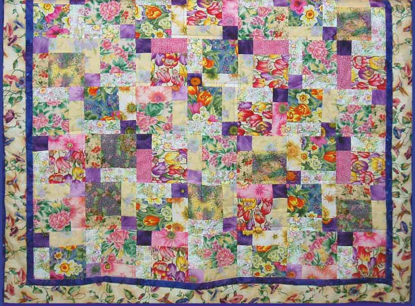 image of Baby Size Fat Quarter Disappearing 9 Patch Quilt