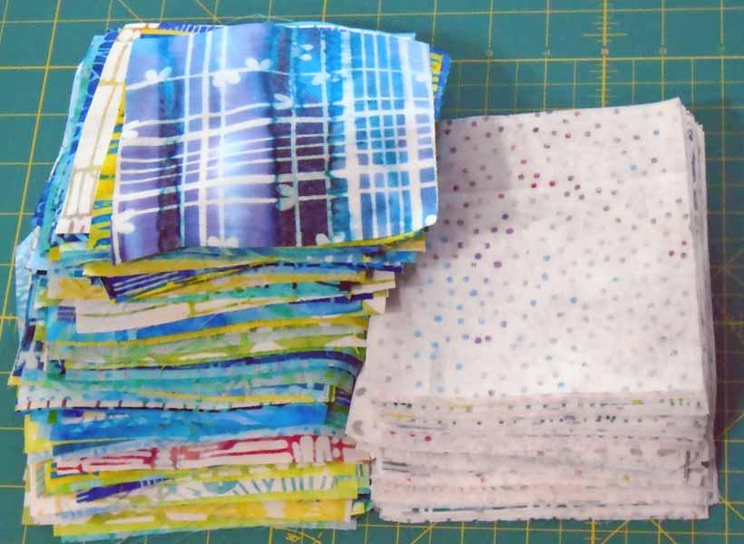 image of batik charm squares cut from fat quarters