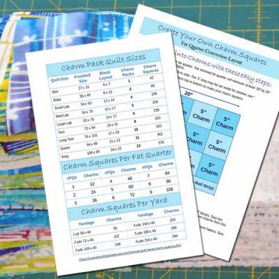 image of Batik Charm Square Quilt Size Chart