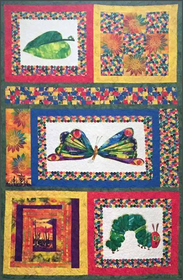 image of Hungry Caterpillar Baby Quilt made with Disappearing 9 Patch Block