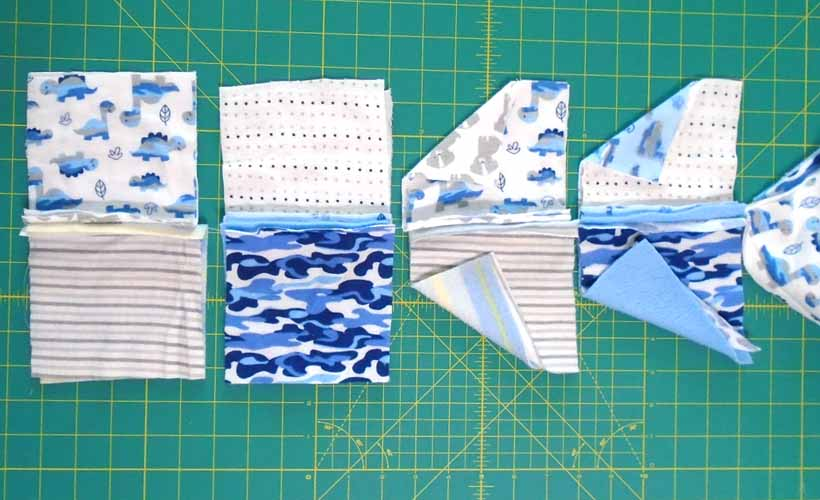 image of How to sew rag quilt rows