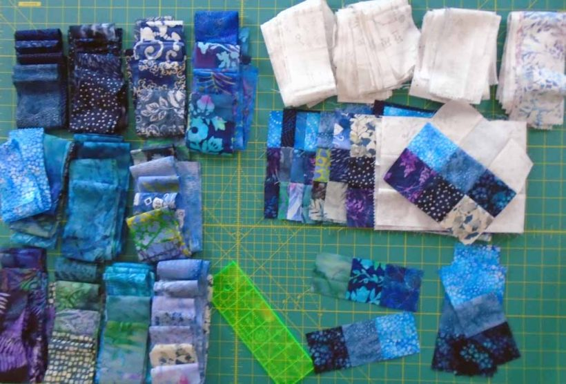 image of batik fat quarter quilt block stripset